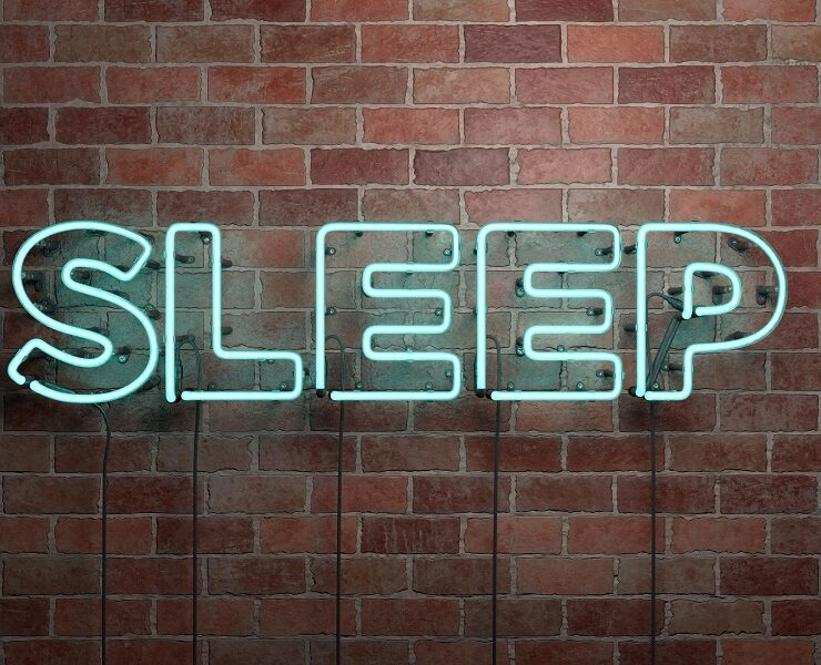 SLEEP - fluorescent Neon tube Sign on brickwork - Front view - 3D rendered royalty free stock picture. Can be used for online banner ads and direct mailers.