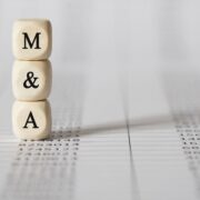 Word M AND A made with wood building blocks,stock image